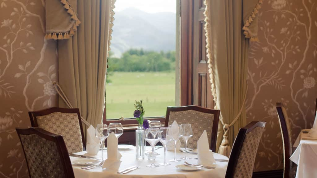 Looking out the window of the Herbert Restaurant at Cahernane House Hotel towards Killarney National Park