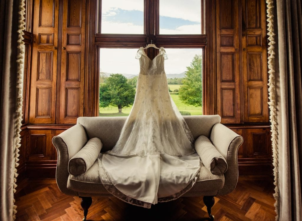 Wedding dress hanging in boutique Cahernane House Hotel